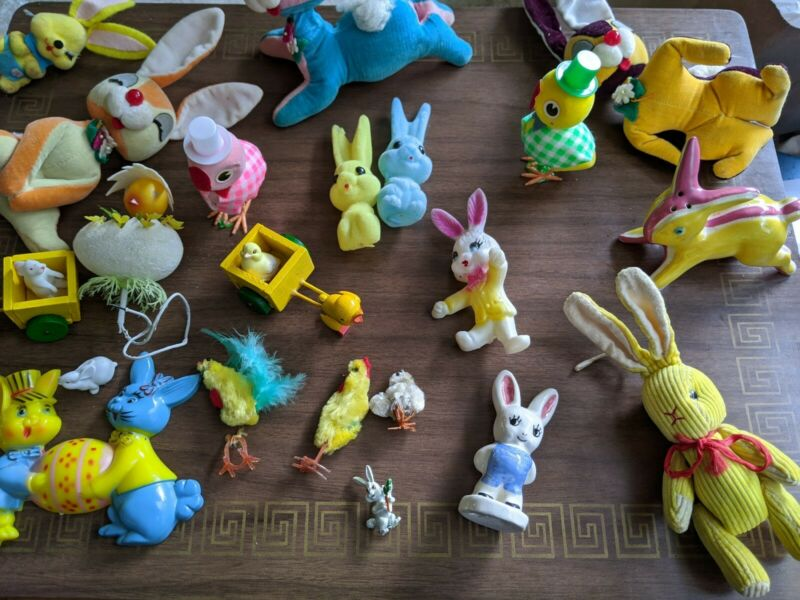 Vintage Bunny Rabbit Easter Big Lot Decor Toys Collectible