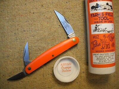 Great Eastern Cutlery Farm & Field Tool # 62 Pocket Carver Knife Orange Delrin