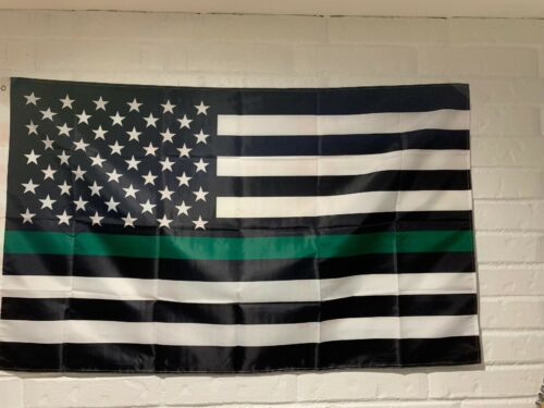 3x5 Thin Green Line USA Flag USA SELLER Ships free ***liquid