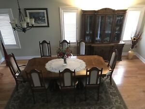 Oak Dining Room Set 8 oak upholstered chairs oak table and Hutch