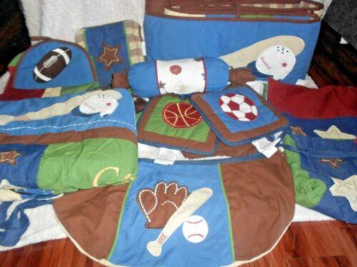 "PRE OWNED ""All Star SPORTS Baby"" Boys 12 Piece Nursery Bedding Set"