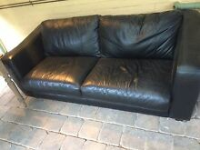Leather Couch set 3 seater & 2 Seater poof Myrtle Bank Unley Area Preview