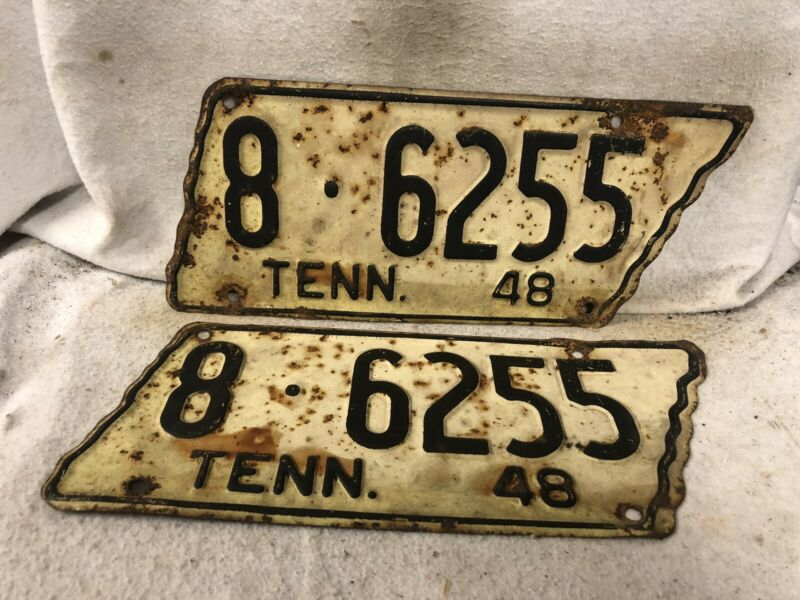 Vintage 1948 Tennessee License Plate Pair