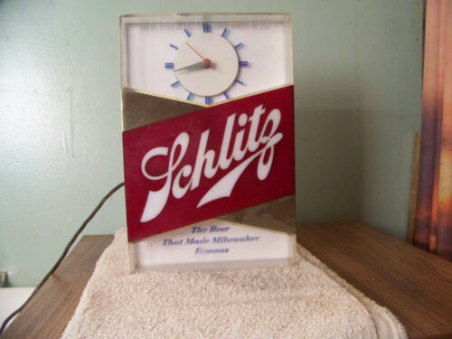 Vintage Schlitz Lighted Clock Beer Sign Bar Light Cash Register 1959 Hammer Bros