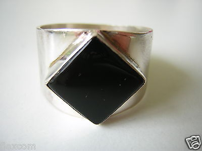 Massiver 925 Sterling Silber Ring m Onyx 8,3 g /19,8 mm Silber Schmuck #218