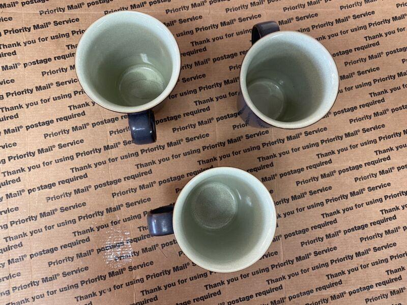 3 Denby Speckled Green Mugs