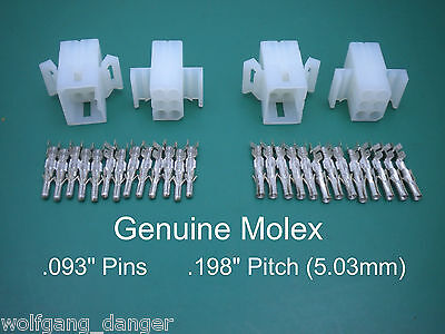 6 Pin Molex Connector - Set of 2 Complete 6 Circuit Connectors w/ .093 Pins
