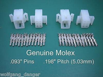 6 Pin Molex Connector - Set Of 2 Complete 6 Circuit Connectors W .093 Pins