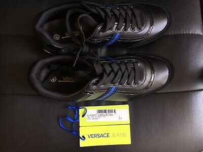 Versace Jeans Trainers Sneakers Style Black Leather Size 7UK RRP £180 BRAND NEW