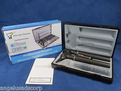Medical Diagnostic Professional Fiber Optic Opthalmoscope Otoscope Kit Forza4