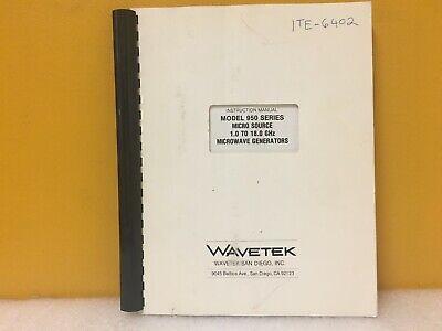 Wavetek 950 Series Micro Source 1.0 To 18.0 Ghz Microwave Generators Manual