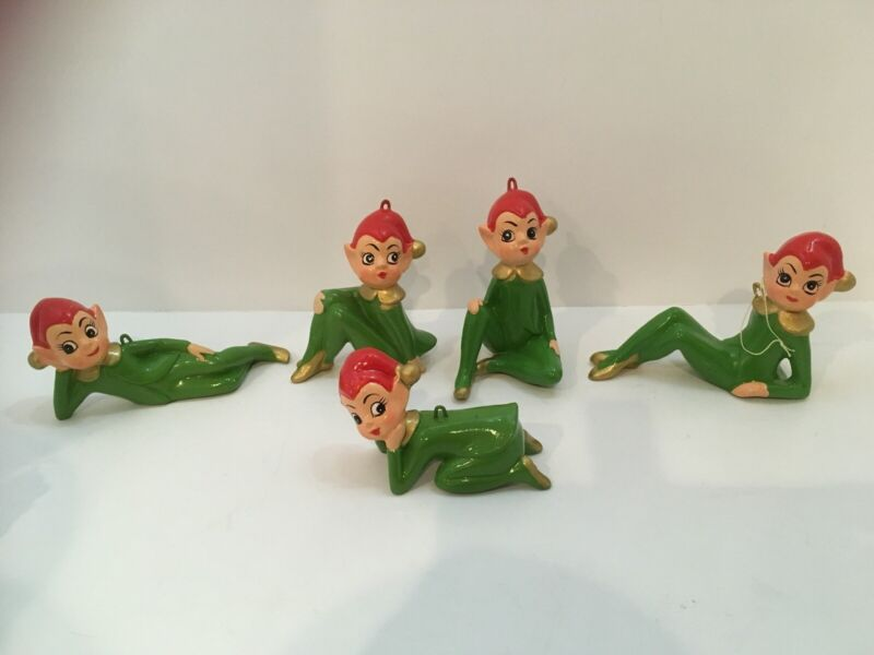 5 Vintage Christmas Pixie Elf Ceramic Figurines Green with Red Hats Japan