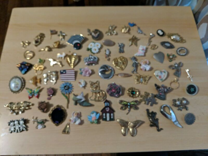 Lot of 75 Assorted Brooches - Some Marked, Most Not Marked - Jewelry Junk Drawer
