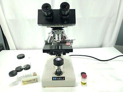 Meiji Techno Tm-460 Compound Binocular Microscope Objective 4x 10x 40x 100x