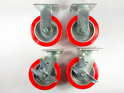 6 X 2 Polyurethane On Aluminum Caster - Rigid 2ea Swivel With Brake 2ea