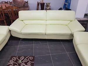 Good condition green leather couches Bexley Rockdale Area Preview
