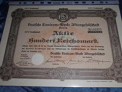 145 : histor.Wertpapier / Aktie : Linoleum Werke , Berlin Dezember 1933 , 100 RM