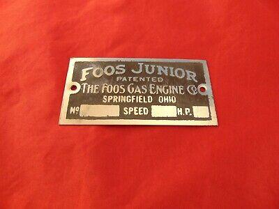Foose Junior Gas Engine Hit Miss Antique Reproduction Data Plate Unstamped