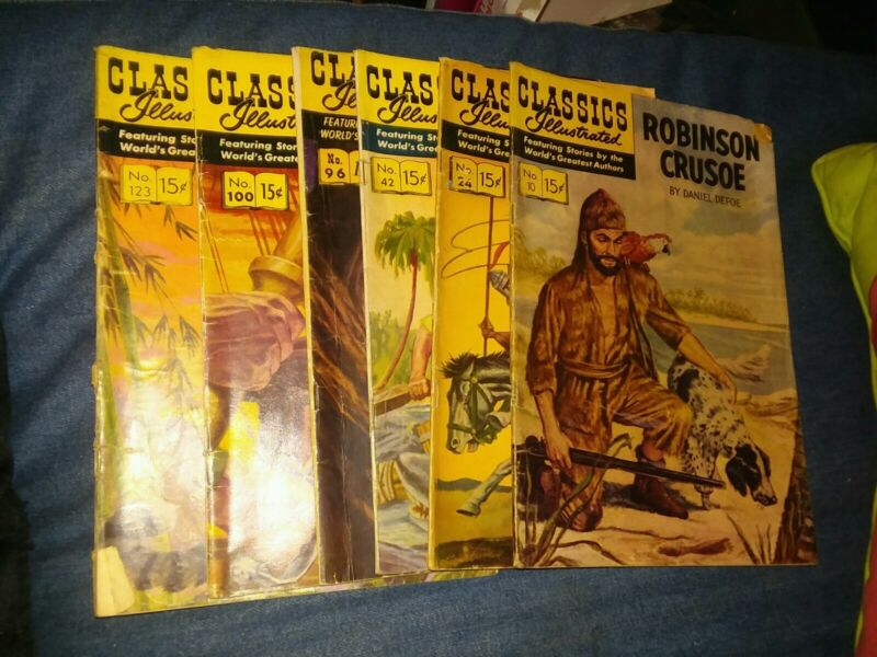 Classics Illustrated 6 Issue Silver Age Comics Lot run set collection books