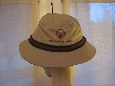 c64483fa538 Imperial Vintage Club Mens Tan Bucket Hat. Blue and Red Stripe. Size XL