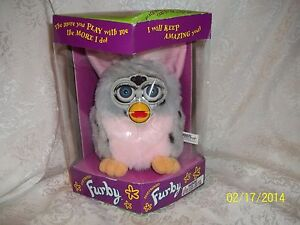 ORIGINAL-GRAY-PINK-BLACK-DOTTED-Furby-Tiger-Electronics-70-800-in-box-LOOK