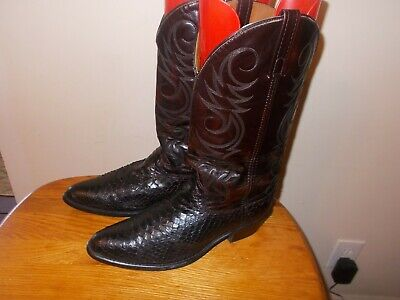 Men's  ACME Black Cherry Python #01546 Western Cowboy Boots Size 11D Made in USA