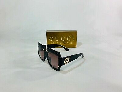 NEW GUCCI GG 0484 OVERSIZED SQUARE SNAKE SKIN SUNGLASSES 003 BLACK! SHIPS TODAY!