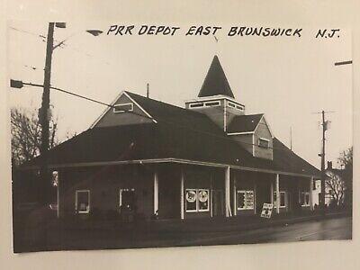 East Brunswick New Jersey PRR Railroad Depot B&W Real Photo Postcard RPPC (New Jersey East Brunswick)