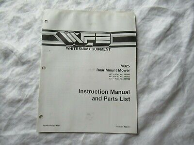 White M325 Rear Mount Mower Instruction Manual And Parts Catalog