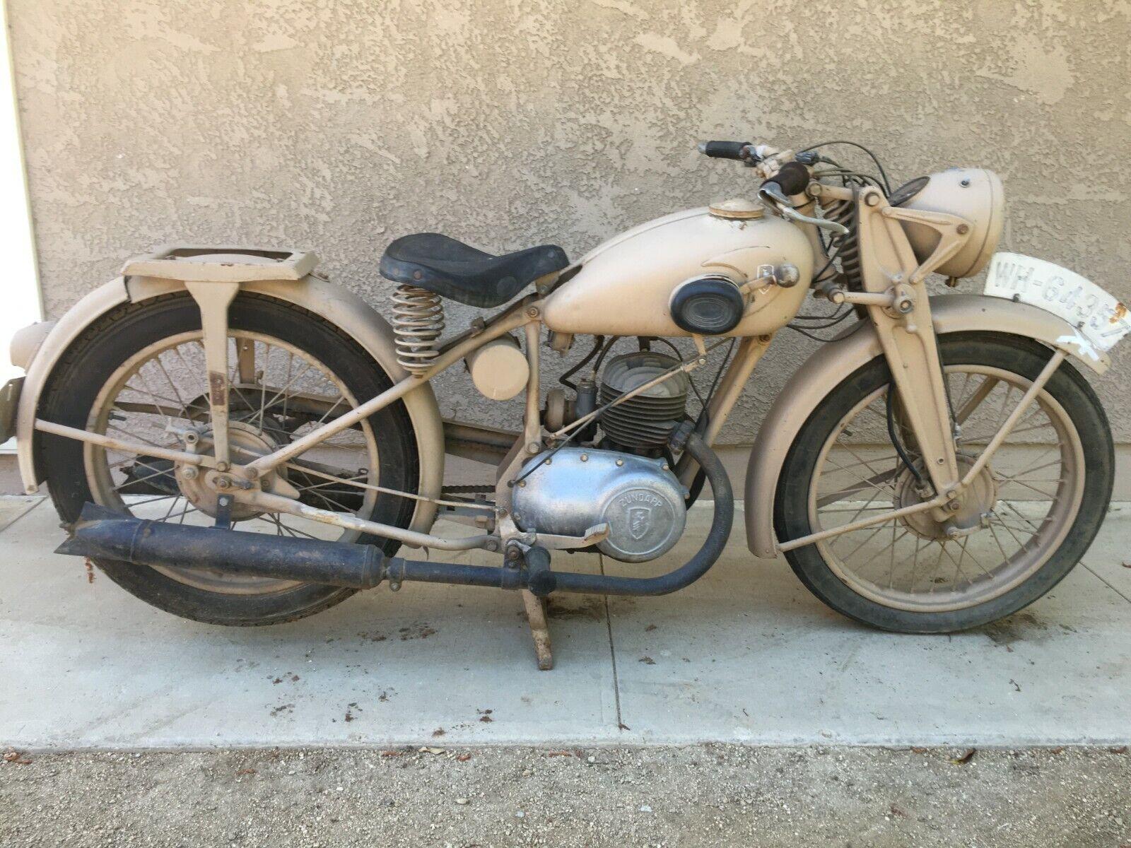 Zundapp Model DB200 T 200cc Motorcycle Post War Desert Tan Runs Needs Work