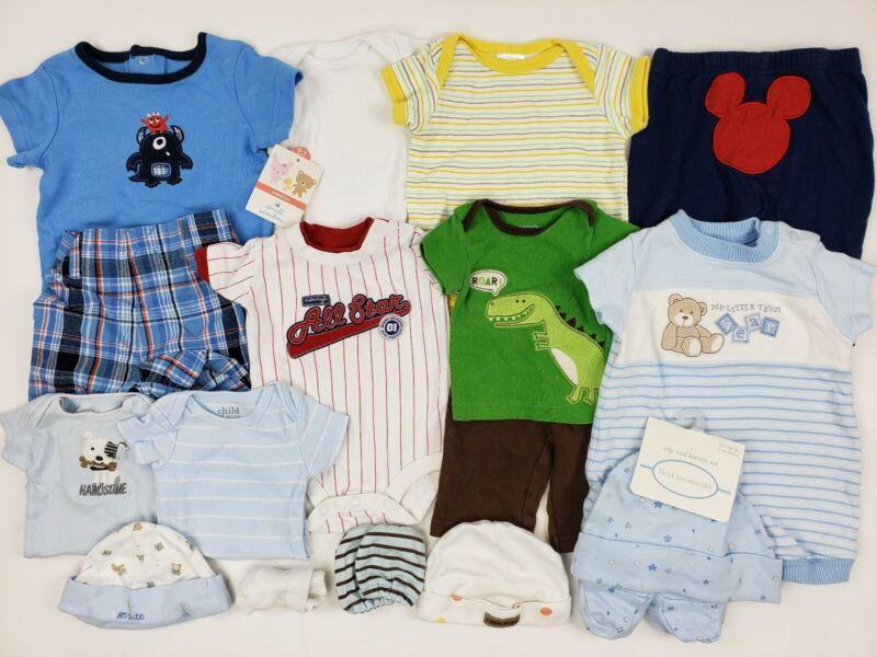 Baby Boy Mix Lot Nb 0-3 Months Carters Gerber Onesie Premie Hat Mittens Tags
