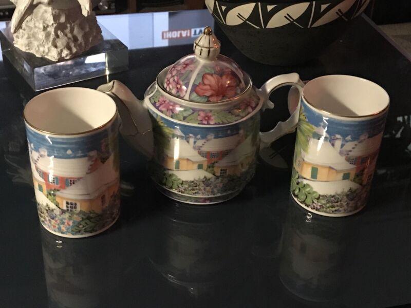 Bermuda-Fine Porcelain Tea-Pot & Two Cups