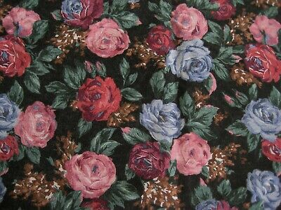 Carla Weiss fabric design cottage Victorian Pictorial roses Vintage OOP by yard
