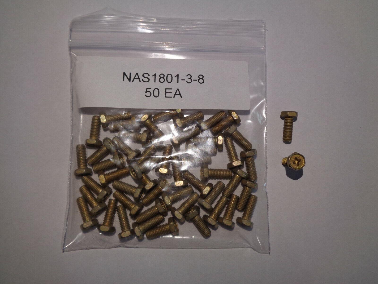 NAS1801-3-8 HEX HEAD SCREWS 50 EACH NEW