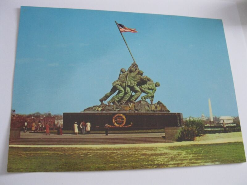 Jumbo IWO JIMA Statue Arlington VA Vintage Postcard American Flag Scenic Art DC
