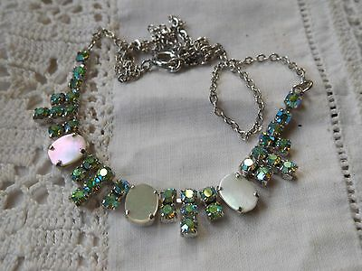 Dazzling Vintage 1950s Geen Rainbow Crystal Necklace with mother of pearl