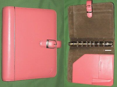 Desk 1.0 Pink Ribbon Leather Day Timer Planner Binder Classic Franklin Covey 42