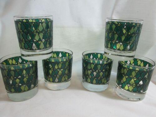 Vintage Tiffin EMPIRE Mid Century Green 8 oz On the Rocks Drinking Glasses SET 6
