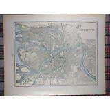"ST PETERSBURG RUSSIA Map 1900 Antique Original 14.5""x11.5"" STRELNA PETERHOF MAPZ"