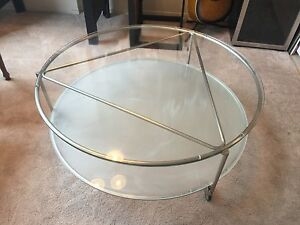 Round glass coffee table $80