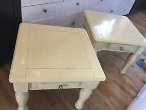 2 yellow side tables - available-