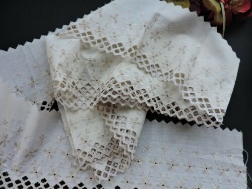 Lovely  Vintage French Embroidered BRODERIE ANGLAISE Trim