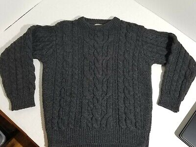 Murphy of Ireland Definitive Aran Sweater Cable Stitched Charcoal Grey L Wool