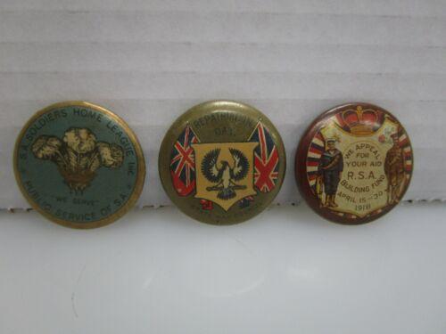 Lot of 3 Antique World War 1 WWI Era Australian Pin Back Buttons (BV)