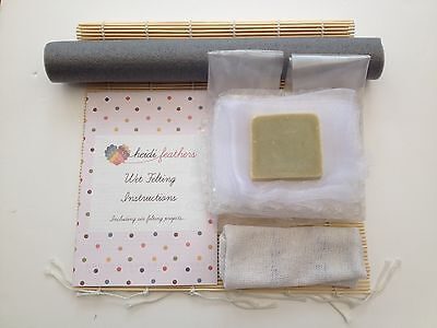 Heidifeathers Wet Felting Starter Kit Without Wool - Bamboo Mat, Netting, Soap..