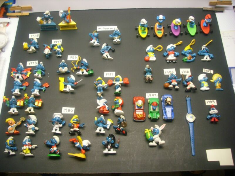 Smurfs vintage figures + lot of 52 pieces 1970s & 80s.
