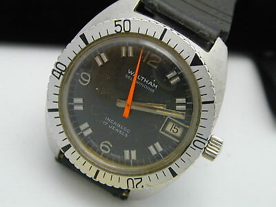 Vintage WALTHAM Automatic 17 Jewel Stainless Steel Orange Hand Diver's Watch