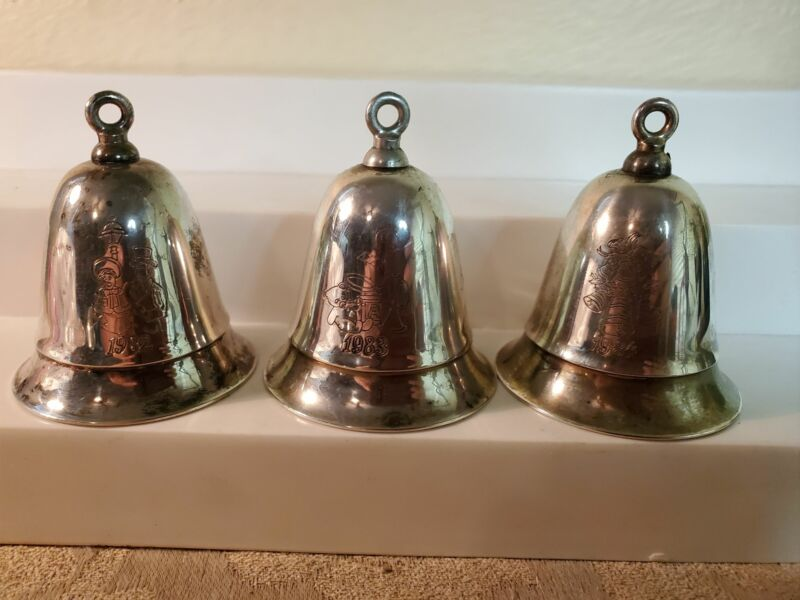 Lot of 3 Kirk Stieff musical Christmas ormament bells, wind-up
