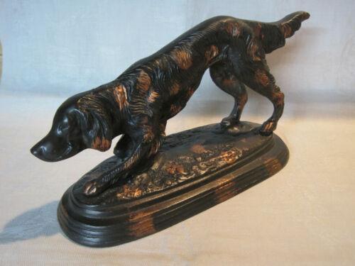 Vintage English Setter hunting dog cast metal statue figurine