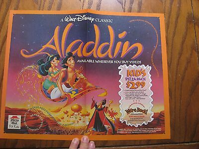Pizza Hut Placemat Trayliner - Disney Aladdin - 1993
